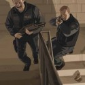 Artwork showing two cops with shotguns climbins the stairs.   Views: 2809